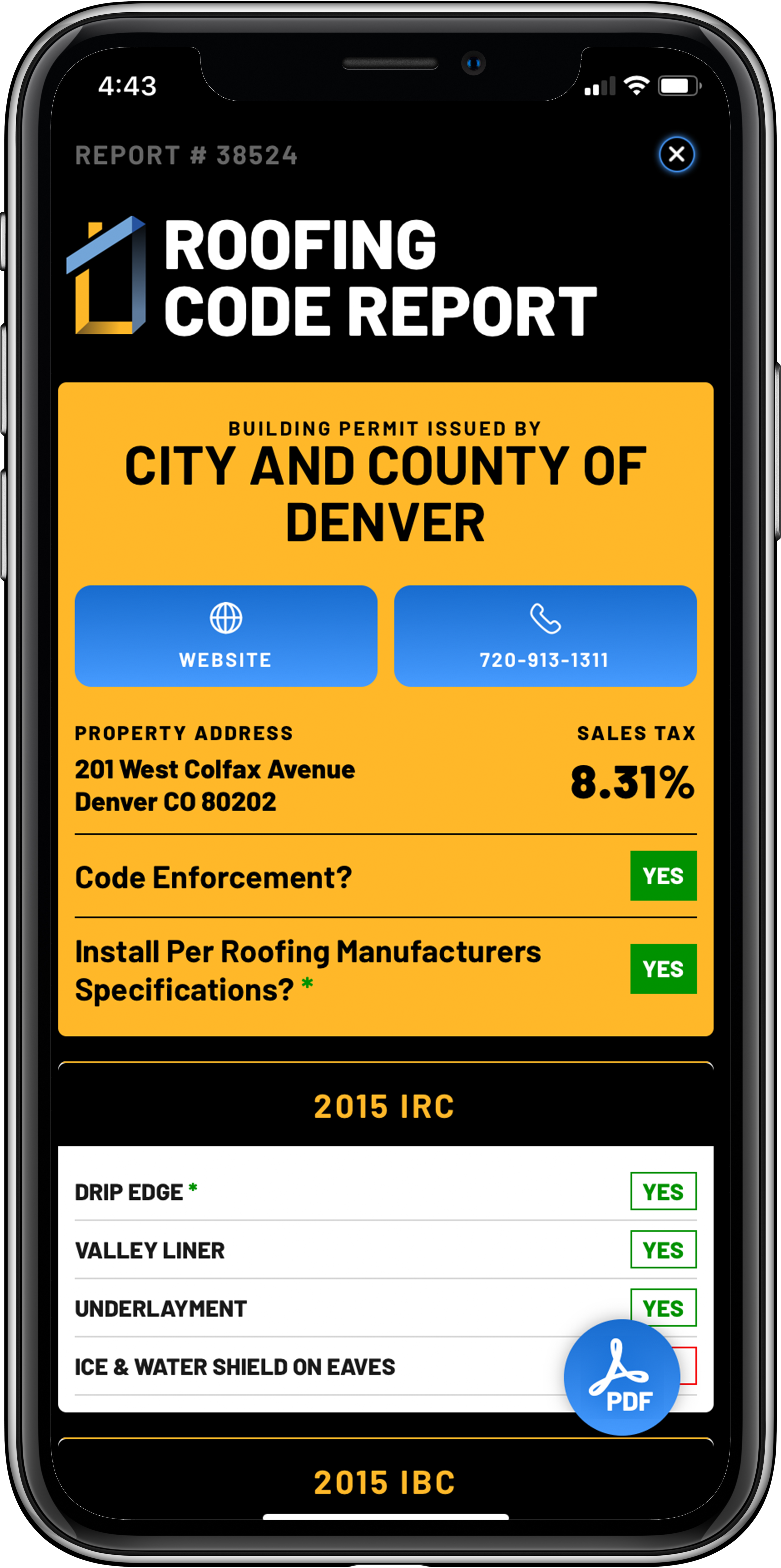 Roofing Code Report and Code Enforcement